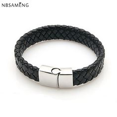 Janeyacy Brand Fashion Men Charm Bracelet Black Leather Bracelet Stainless Steel Magnetic Clasps Bracelets Male Vintage Jewelry To Enjoy High Reputation At Home And Abroad Bracelets & Bangles
