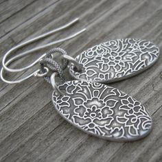 Sterling Silver Garden Oval Coin Earrings by westbyron on Etsy