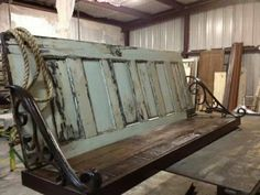 what to do with an old door | Using old door for bench.