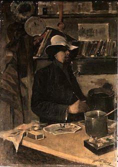 Toorop, Jan (1858-1928) - 1883 Self Portrait in the Atelier (Van Gogh Museum, Amsterdam)