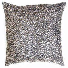 """Nikki Grey Jeweled Beaded Pillow - 10""""x10"""""""
