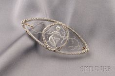 Art Deco Glass Intaglio and Diamond Brooch, Lalique | reverse engraved to depict young woman among scrolling boughs, set w/ old mine and rose-cut diamond accents, platinum mount
