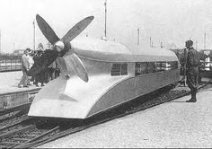 """""""Rail Zeppelin"""" by Frank Kruchenberg, driven by a BMW aircraft engine that brought the train speed to a then-record-breaking 145 MPH in Jeep Commander, Diesel, Train Tracks, Retro Futurism, Zeppelin, Historical Photos, Transportation, Germany, Vehicles"""