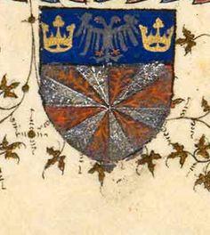 Armoiries (détail, f°2) -- «Origines mythologiques du royaume de France», Chroniques de Saint-Denis [BNF, Arsenal Ms. 5223]