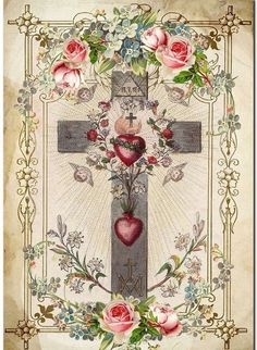 Sacred Heart of Jesus and the Immaculate Heart of Mary on the cross. Religious Images, Religious Icons, Religious Art, Catholic Pictures, Jesus Pictures, Vintage Holy Cards, Christian Images, Les Religions, Heart Of Jesus