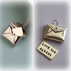 Love Letter Necklace With Custom Hand Stamped by ShopSomethingBlue, $62.00