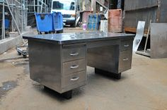 Whats Going on at Blast Spray & Polish: Refurbished & Polished Mild Steel Office Desk & Filing Cabinet
