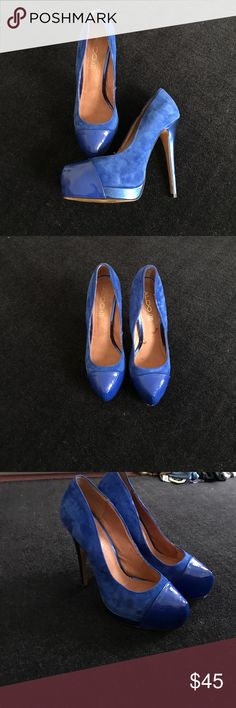 ALDO Royal Blue Heels Basically brand new royal heels suede body with royal blue metallic accents 8.5/9 Aldo Shoes Heels