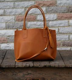Small Everyday Leather Tote Bag by Bubo Handmade