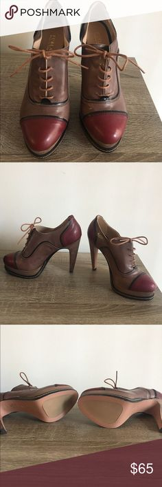 Furla lace up heels Shiny leather platform lace up heels - brand new never worn! Color is mauve and burgundy accent. Furla Shoes Heels