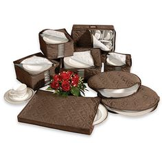 Brown Microfiber 8-Piece China Storage Set - BedBathandBeyond.com-  this version is sold out but def need something along these lines