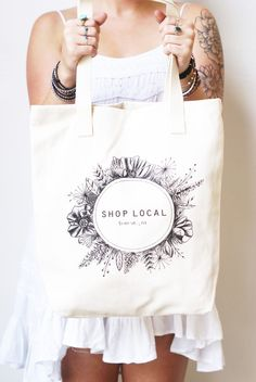 """""""Shop Local"""" Tote – themasonbarcompany designed by Lisa Rae (thedancingpine) Buy Local, Shop Local, Diy Tote Bag, Reusable Tote Bags, Etsy Business, Business Cards, Brush Lettering, Creative Logo, Visit Cards"""