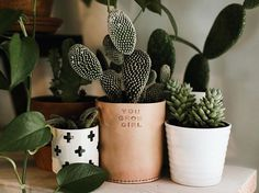 YOU GROW GIRL I posted a photo a couple days ago with The EmmyLou surrounded by plants. This reminded me of one of the many ideas I have on my 'To Make' list, pot covers! Here is one of the plant pun pot slips I will soon add to the store along with 'leaf me alone' • 'life would succ without you' << just to name a few also, some slouchy sack style covers.