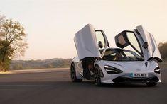 Lataa kuva McLaren 720S, 2018, superauto, valkoinen 720S, sunset, kilpa-auto, Britannian superauto, McLaren #mclarensupercar