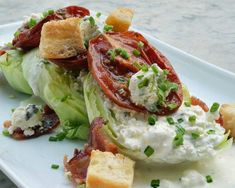 Fancy a steakhouse-style dinner for two at home? Start with this wedge salad, made truly special with a homemade blue cheese dressing. Or, if you're pressed for time, you can start with store-bought blue cheese dressing and stir in the same herbs and spices.