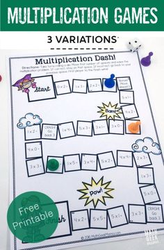 How To Produce Elementary School Much More Enjoyment This Adorable Set Of Printable Multiplication Games Is So Easy To Use-Just Print And Play And I Love That There Are Different Versions To Help Kids Focus On Specific Multiplication Skills Easy Math Games, Printable Math Games, Free Math Games, Math Card Games, Fun Math, Math Math, Maths, Free Printables, Math Multiplication Games