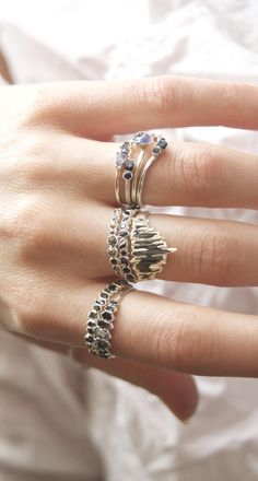 Black Kyanite Shield Ring