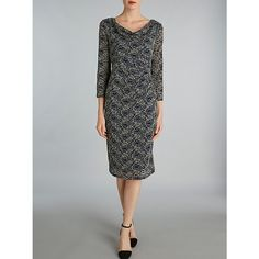 Buy Gina Bacconi Sequinned Two Tone Lace Dress, Navy, 8 Online at johnlewis.com