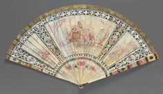 1735-1745, 1780-1789, the Netherlands - Brisé fan- Ivory blades pierced, oil painted, and varnished; paper; brass - Reverse: outline of obverse scene in red, blue, green. Painted paper connecting ribbon at top. Brass rosette studs in rivet