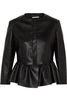 Stella Mccartney Women Jacket on YOOX. The best online selection of Jackets Stella Mccartney. YOOX exclusive items of Italian and international designers - Secure payments Leather Peplum, Vegan Leather Jacket, Faux Leather Jackets, Peplum Jacket, Stella Mccartney, Cool Outfits, Jackets For Women, Clothes, Outerwear Jackets
