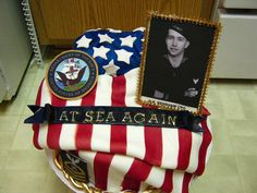 Memorial cake made for my friends late father's celebrationof life. The flag is fondant airbrused with red stripes. The blue section of flag is a small cake covered in fondant with fondant stars. Edible image framed in gumpaste. Military Cake, Flag Cake, Wedding Topper, Cake Cover, Small Cake, Edible Art, Cute Cakes, Gum Paste, Cupcake Cookies