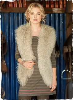The quintessential boho luxe vest, crafted in Italy from the finest Mongolian lambskin. Glamorous over jeans or dresses, with a hem that dip...