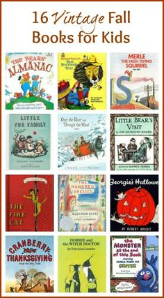 16 Classic Kids Books for Fall & Halloween - A great list of classic fall books that parents will remember & kids will enjoy! Halloween Books, Halloween Kids, Halloween Stories, Autumn Activities, Activities For Kids, Sequencing Activities, Vintage Children's Books, Vintage Kids, Vintage Fall