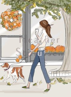 Blank Autumn Stroll with Brittany - Autumn - Autumn Art - Autumn Cards - Greeting Cards - Quotes for Women - Brittany - Brittany spaniel Art Hello Weekend, Bon Weekend, Happy Weekend, Hello Saturday, Happy Saturday, Saturday Morning, Thursday, Wednesday, Illustrations