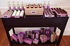 Lilac Baby Shower - brownie bites, wrapped boxes for serving displays