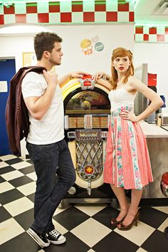 Retro 1950s Diner Engagement Shoot By Honey Heart Photography