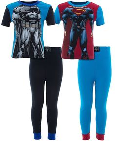 DC Comics Big Boys' Batman Superman Muscles 2-Pack Cotton Pajamas 8. DC Comics brand two-pack cotton pajamas featuring Batman and Superman. One pair of pajamas are printed with Batman's muscular body and are blue and black. One pair of pajamas are printed with Superman's muscular body and are red and blue. Both pair of pajamas have short sleeved tops and pajama bottoms with elastic waistline and cuffed leg bottoms. The 100% cotton fabric is machine washable. These pajamas are designed to…
