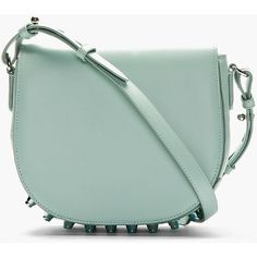 Alexander Wang Mint Leather Studded Lia Small Satchel ($398) ❤ liked on Polyvore featuring bags, handbags, purses, bolsas, accessories, studded purse, handbags & purses, satchel handbags, green purse and leather satchel purse