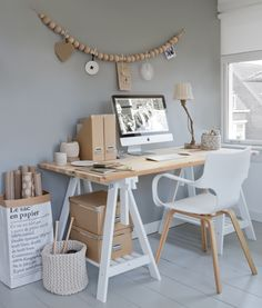 10 Most Comfortable Home Office Table Design Ideas You Must Have - on-LA-on Office Table Design, Home Office Table, Home Office Space, Small Office, Home Office Design, Home Office Decor, House Design, Home Decor, Office Ideas