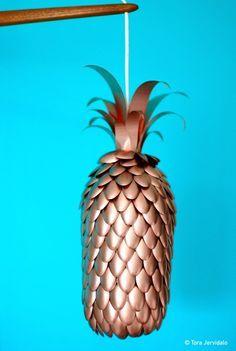 Ananaslampe i kobber. DIY copper pineapple lamp. Step-by-step directions at selvlaget.com