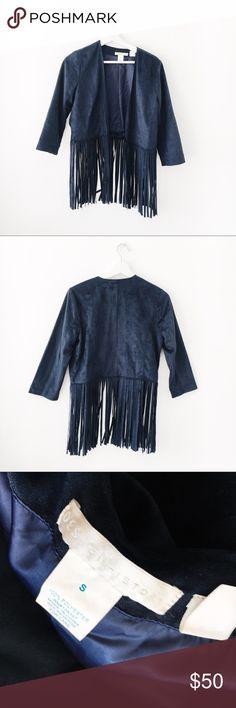 Fringe Jacket Navy blue fringe jacket! Size S, new with tags ✨💛 Design History Jackets & Coats