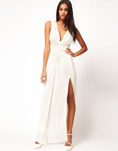 Enlarge ASOS Grecian Maxi Dress with Thigh Split $89.48 this looks exactly like the one Rosie Hungtinton  wore!
