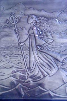Embossed pewter girl walking on water
