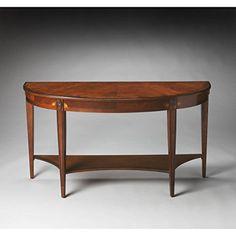 Butler Astor Olive Ash Burl Demilune Console Table