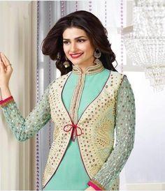 Prachi Desai Sky blue color embroidered georgette straight suit