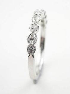 Wedding Band with Pear Shaped Diamonds