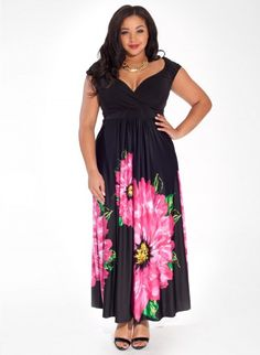 Sylvia Maxi Dress in Peony Allure #plussize
