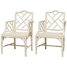 Chinese Chippendale Faux Bamboo Armchairs - Pair