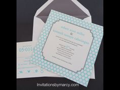 Square letterpress wedding invitation Tiffany blue and charcoal