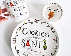 Santa& Cookies and Milk Set, Santa& Cookie Plate, Milk Mug & Reindeer Snack Bowl, Cookies . Christmas Plates, Christmas Crafts For Kids, Christmas Activities, Christmas Fun, Christmas Vinyl, Xmas, Sharpie Plates, Sharpie Crafts, Cookies For Santa Plate