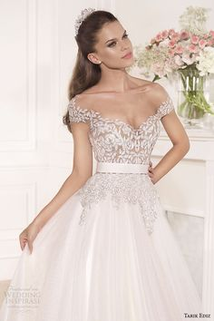 tarik ediz 2014 bridal collection off the shoulder sweetheart a line wedding dress 1 front zoom gul