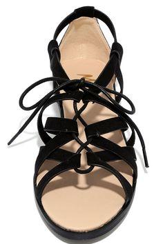Gladiator Sandals - Flat Sandals - Black Sandals - Lace-Up Sandals - $28.00