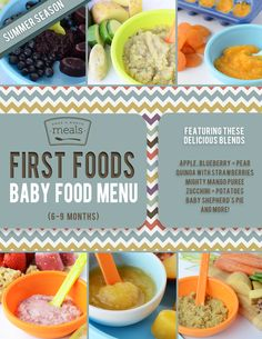 With an abundance of fresh produce hitting the grocery aisles and local farmer markets, your 6-9 month old baby can experience the bounty of nature along with the whole family! The July Menu incorporates many of the in season fruits and vegetables into your monthly homemade baby food recipes.