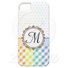 Rainbow Polkadots Checks and Stripes with Monogram casemate cases