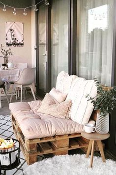 The post appeared first on Balkon ideen. Apartment Balcony Decorating, Apartment Balconies, Apartment Living, Living Room, Balkon Design, Balcony Furniture, Small Patio, Small Balcony Design, Small Balcony Decor