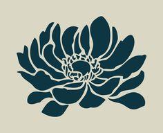 Anemone (ref adhesive vinyl stencil Free Stencils, Stencil Templates, Stencil Designs, Printable Stencil Patterns, Motif Art Deco, Korean Painting, Stencil Printing, Shrink Art, Decoupage Vintage